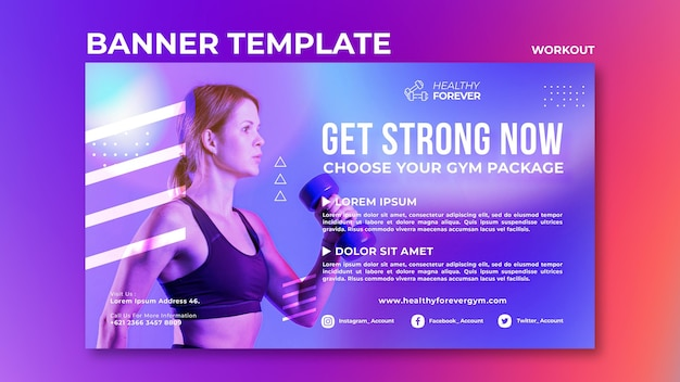 Get strong now banner template Premium Psd