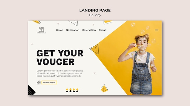 Get your voucher holiday party landing page Free Psd