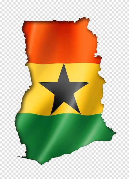 Ghana flag map, three dimensional render, isolated on white Premium Psd