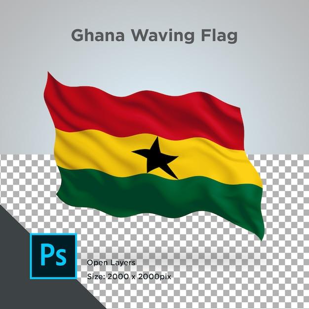 Ghana flag wave transparent psd Premium Psd