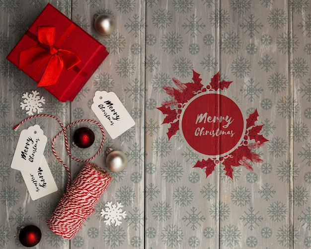 Gift bow wrapped for christmas eve night Free Psd
