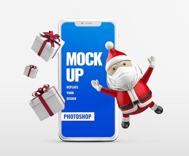 Подарочная коробка и мобильный рекламный макет санта-клауса Premium Psd