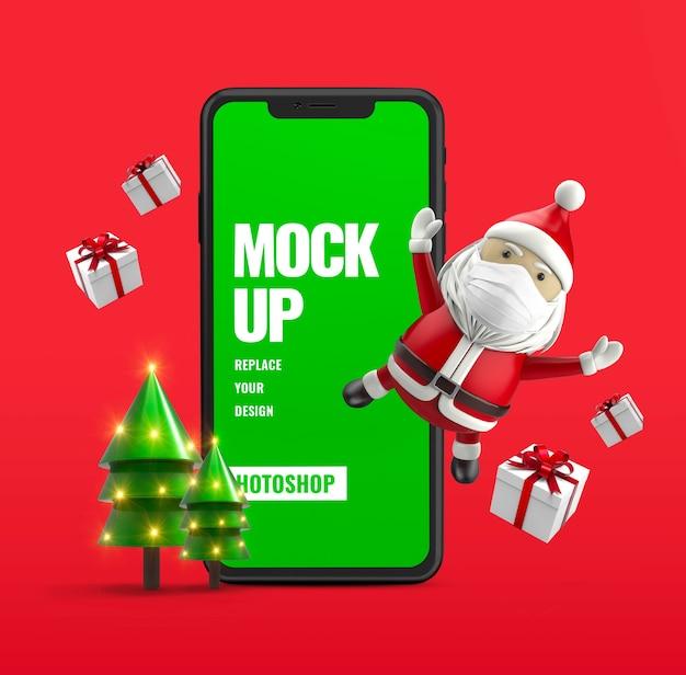 Подарочная коробка и мобильная реклама санты Premium Psd