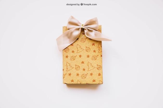 Макет подарочной коробки с рождественским дизайном Бесплатные Psd