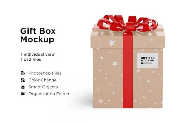 빨간 리본 활과 선물 상자 모형 프리미엄 PSD 파일