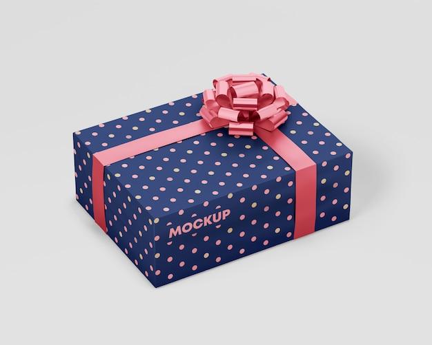 Premium Psd Gift Box Mockup With Ribbon
