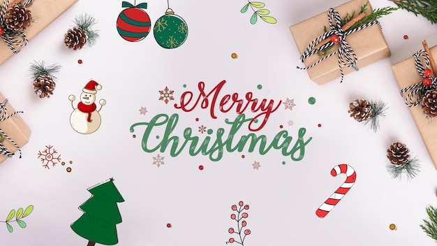 Gift boxes and ornaments on table for christmas Premium Psd