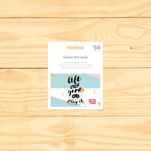 Gift card mock up design Free Psd