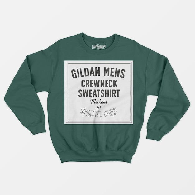 Gildanメンズクルーネックスウェットシャツ03 無料 Psd