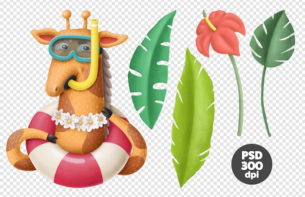Giraffe character and tropical leaves Premium Psd