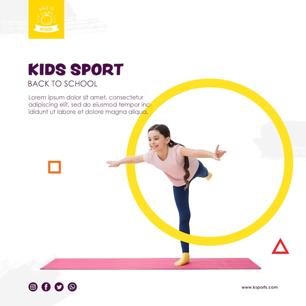 Girl balancing for kids sport template Free Psd