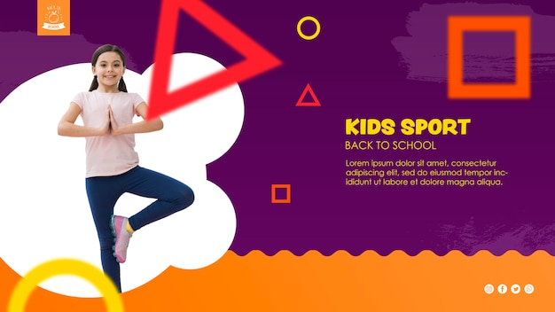 Girl balancing for kids sport template Free Psd