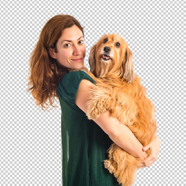 Girl hugging her dog Premium Psd