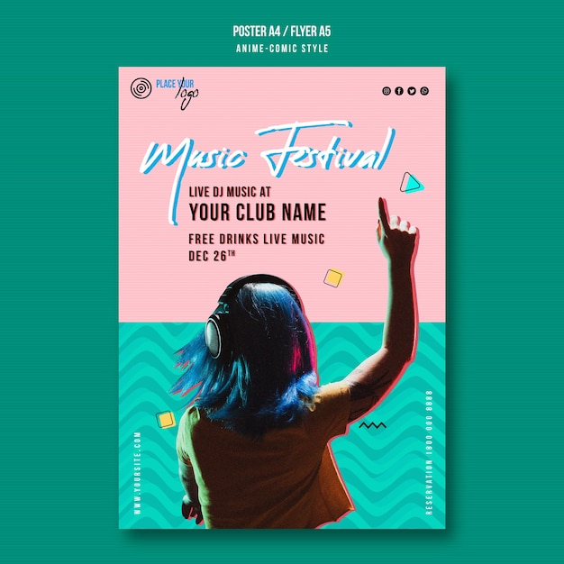 Girl listening to music festival poster template Premium Psd