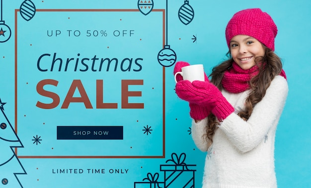 Girl presenting winter promotions Free Psd