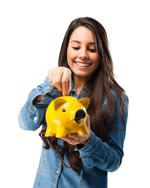 Girl saving money for the future Free Psd