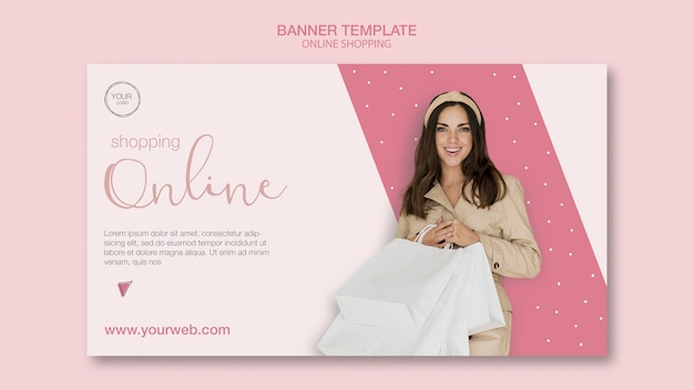 Girl with bags online shopping banner template Free Psd