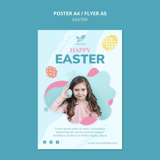 Girl with easter eggs poster template Free Psd