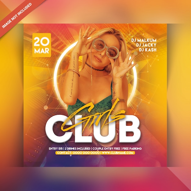 Girls club party flyer Premium Psd