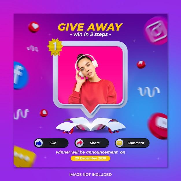 Give away contest banner social media post template Premium Psd