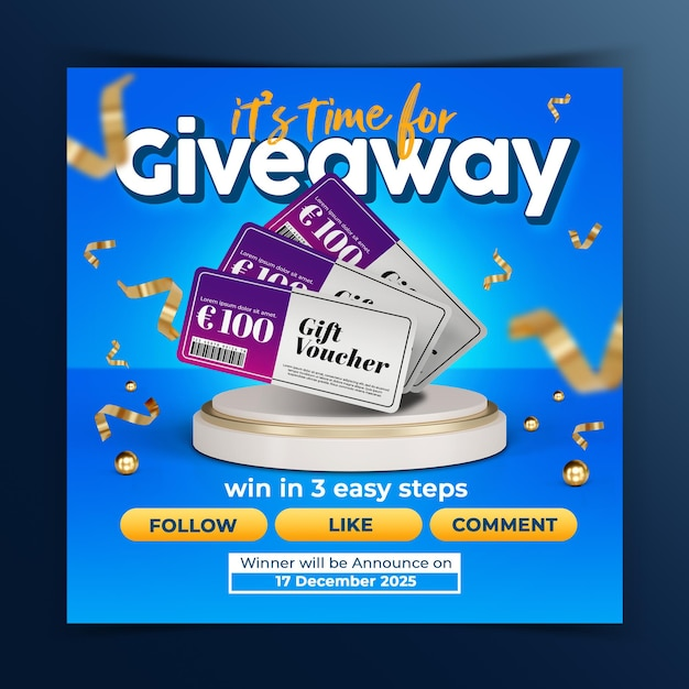 Give away contest instagram social media post template