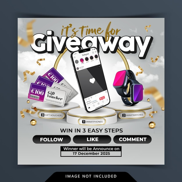 Give away contest social media post template