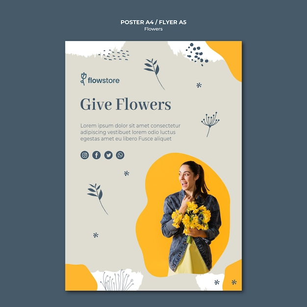 Give flowers to someone you like poster template Free Psd