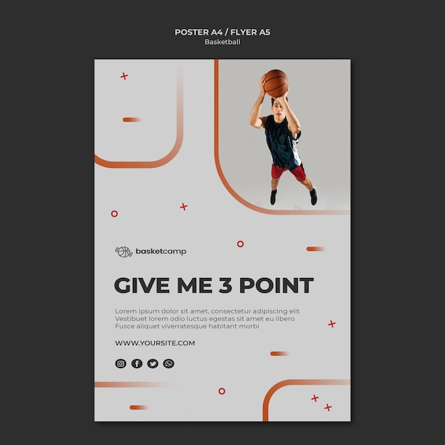 Give me 3 points basketball flyer template Free Psd
