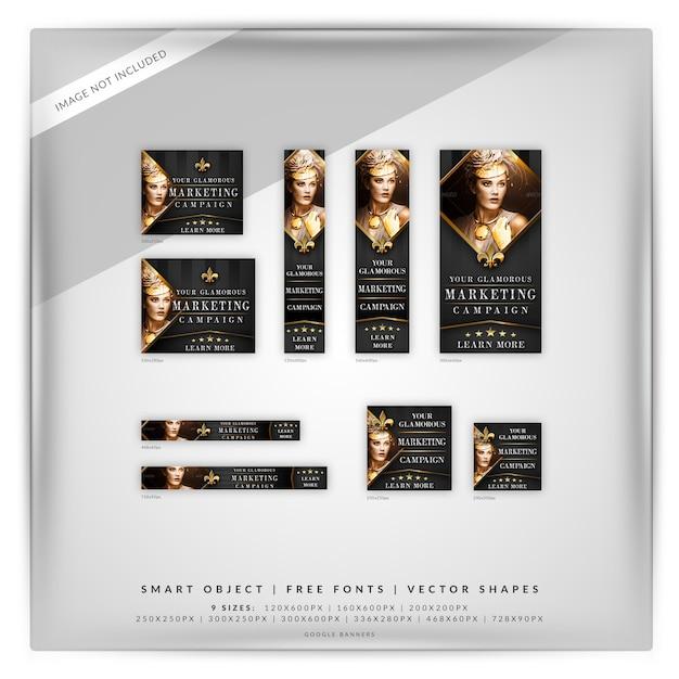 Glamour fashion & beauty google banner set Premium Psd