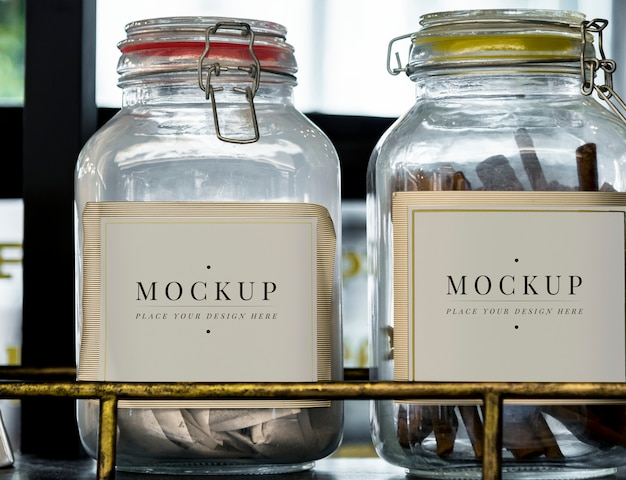 Glass container jar labels Free Psd
