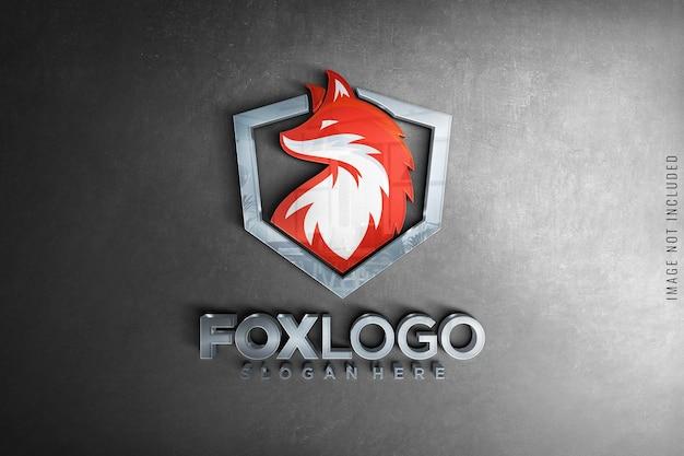 Стеклянный макет логотипа на бетонной текстуре Premium Psd