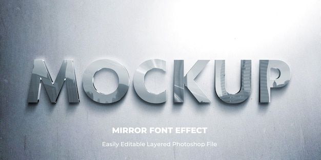 Glass mirror 3d text effect template Premium Psd