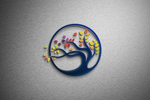 Glass mockup logo on a white wall Premium Psd