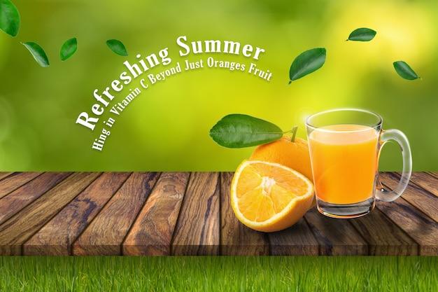 オレンジジュースとオレンジのガラス Premium Psd