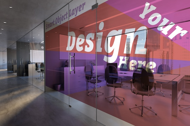 Glass office room wall mockup Premium Psd
