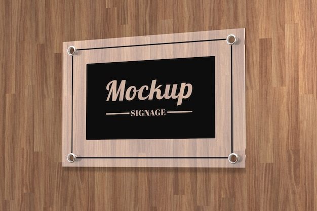 Glass sign logo mockup attached on  wall Premium Psd