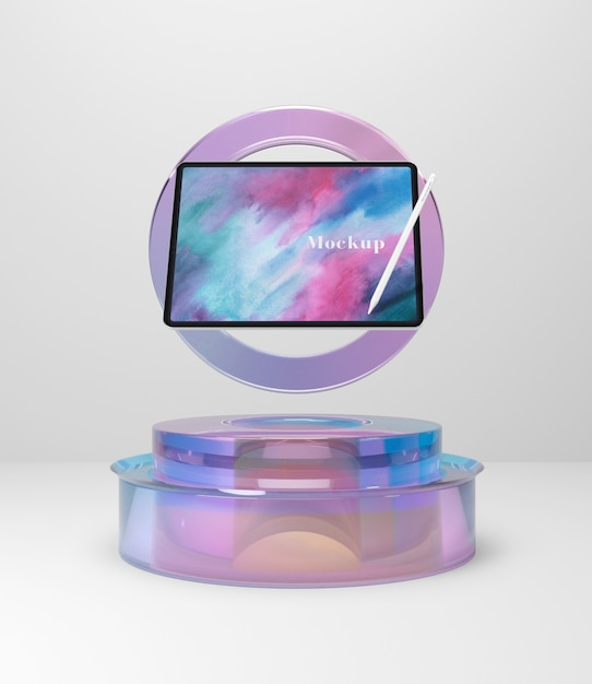 Glass support with tablet device Free Psd