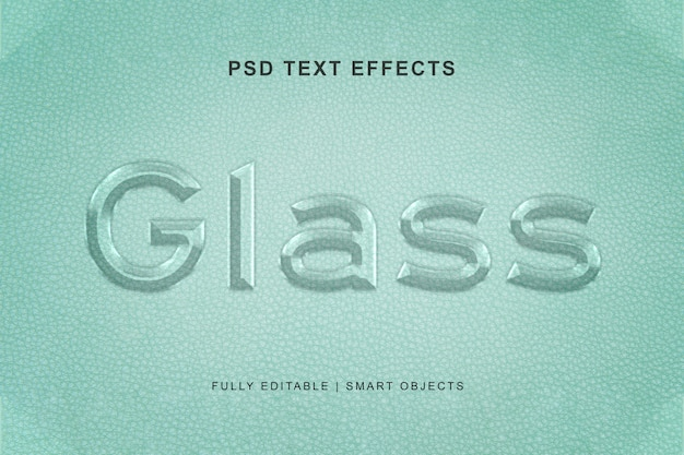 Эффект текстового стекла и стиль текстового эффекта Premium Psd