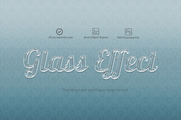 Glass text effect text effect style Premium Psd