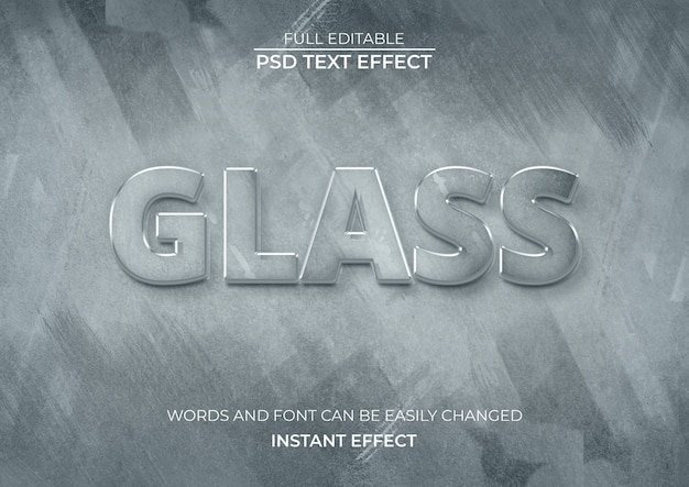 Glass text effect Free Psd