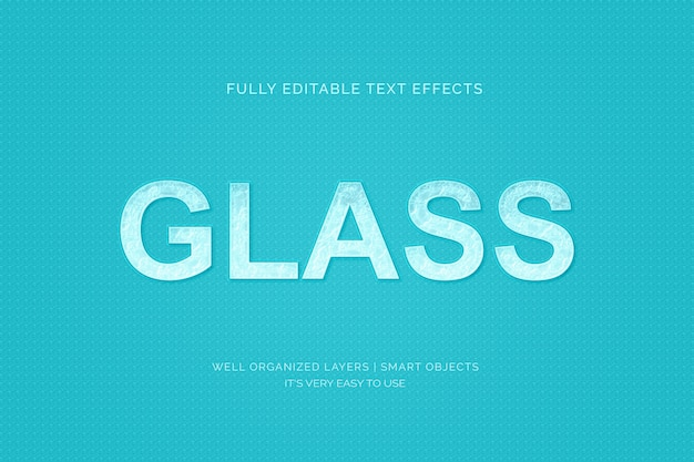 Эффект стиля текста на стекле Premium Psd