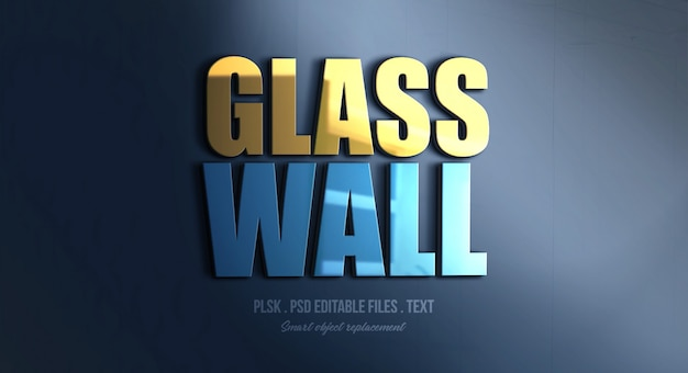 Glass wall 3d text style effect mockup Premium Psd