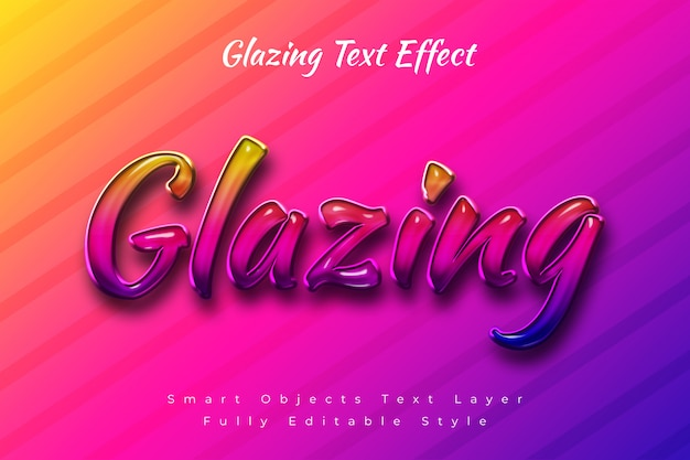 Glazing text effect Premium Psd