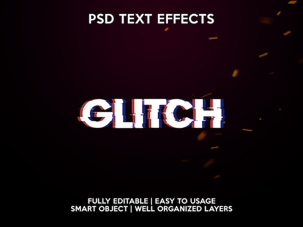 글리치 텍스트 효과 프리미엄 PSD 파일