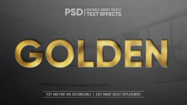 Glittering golden press editable text effect mockup Premium Psd