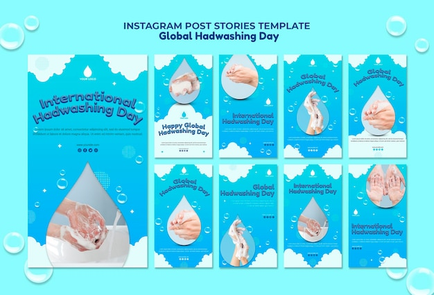 글로벌 손 씻기의 날 instagram 이야기 개념 템플릿 무료 PSD 파일