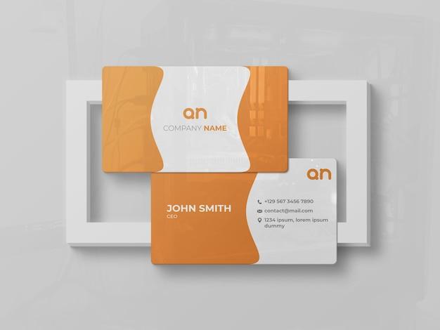 Глянцевый макет лицевой и оборотной стороны визитки Premium Psd