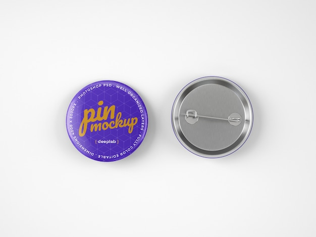 Glossy button pins mockup Premium Psd