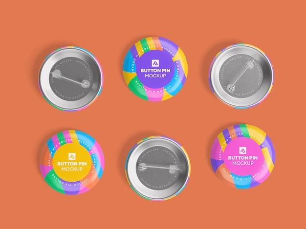 Glossy circle button pin  mockup psd Premium Psd