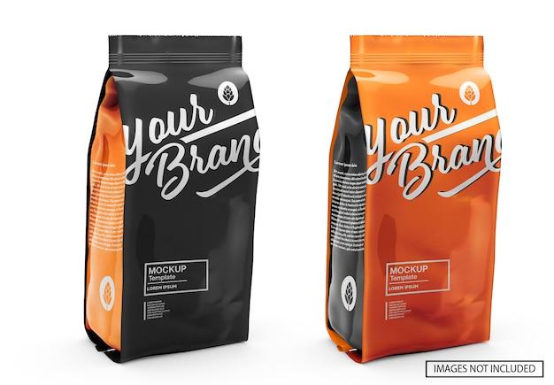 Мокап глянцевого кофейного мешка Premium Psd